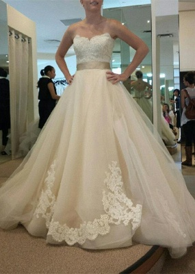 Sweetheart Tulle Bowknot Wedding Dress New Arrival Open Back Long Bridal Gowns_1