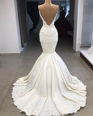 Gorgeous Appliques Detachable Satin Backless Wedding Dresses Spaghetti Straps Lace Fit and Flare Bridal Gowns with Overskirt On Sale_4