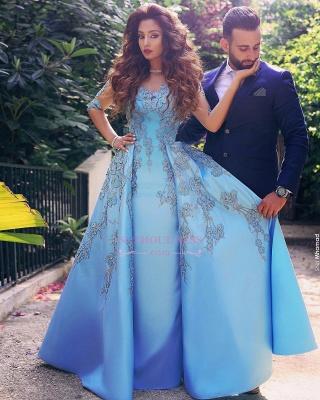 Appliques V-Neck Elegant A-Line Half-Sleeves Prom Dresses_4