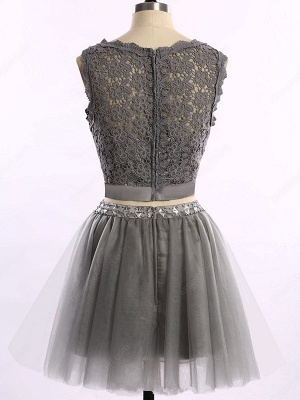 Cute Two Piece Short Cocktail Dresses New Arrival Lace Mini Homecoming Gowns_3