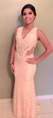 Sheer Back V-Neck Lace Mermaid  Evening Dresses Applique Sexy long Prom Dress_1