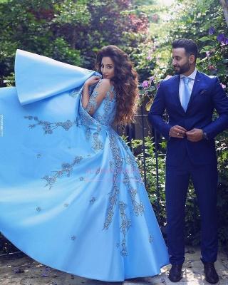 Appliques V-Neck Elegant A-Line Half-Sleeves Prom Dresses_3