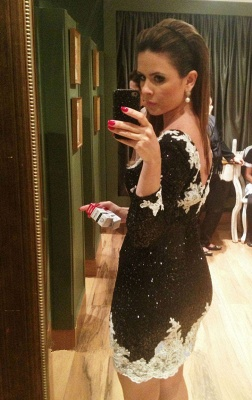 Sexy Black Mini Homecoming Dresses Sheath Long Sleeve Lace Party Gowns_3