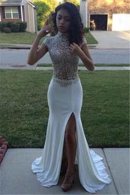 High Neck Beading Sequins Prom Dresses  Cap Sleeves Front Split Evening Gowns BA5088_3