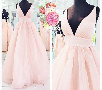 Pink Deep V-Neck Charming  Evening Dresses Floor Length Stunning Prom Dresses_2