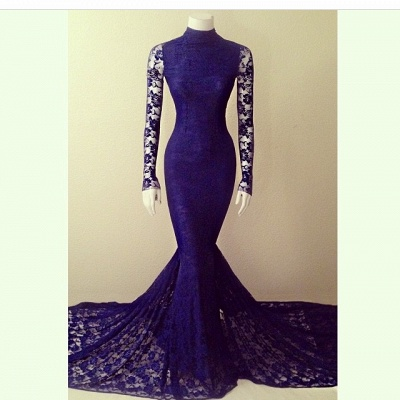 Purple Lace Sexy Party Dresses Long Sleeve High Collar  Evening Gowns_2