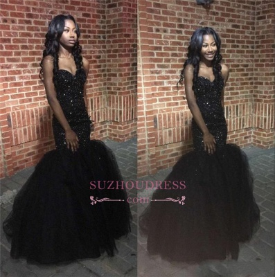 Tulle Sequins Sweetheart Puffy Evening Gown  Amazing Black Beaded Mermaid Prom Dress_1