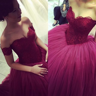 Elegant Off the Shoulder Short Sleeve  Prom Dress Lace Tulle Ball Gown Evening Dresses PD282_3
