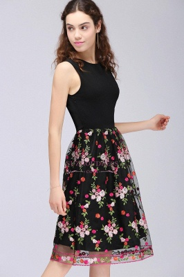Sleeveless A-Line Tulle Flowers Short Black Homecoming Dresses_4