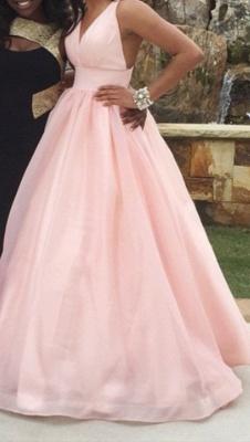 Pink Deep V-Neck Charming  Evening Dresses Floor Length Stunning Prom Dresses_3