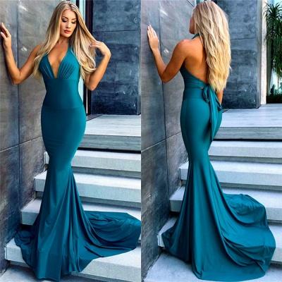 Sexy Simple Mermaid Evening Dresses |  Deep V-Neck Open Back Formal Dresses_3