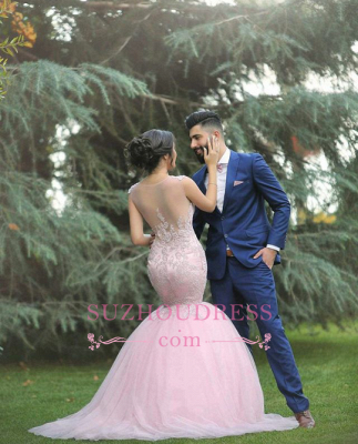 Pink Sexy Mermaid Sleeveless Tulle Long Applique Wedding Dresses_3