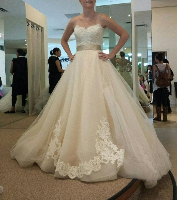 Sweetheart Tulle Bowknot Wedding Dress New Arrival Open Back Long Bridal Gowns_4