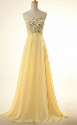 New Arrival Sweetheart Yellow Long Prom Dress Rhinestones Chiffon Lace-Up Plus Size Gowns_1