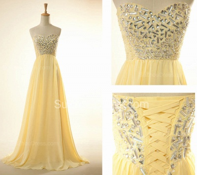 New Arrival Sweetheart Yellow Long Prom Dress Rhinestones Chiffon Lace-Up Plus Size Gowns_4