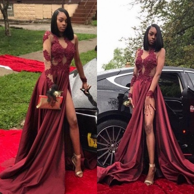 Burgundy A-Line Long Sleeves Prom Dresses  Appliques Side Slit Evening Dresses SK0107_4