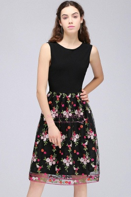 Sleeveless A-Line Tulle Flowers Short Black Homecoming Dresses_2