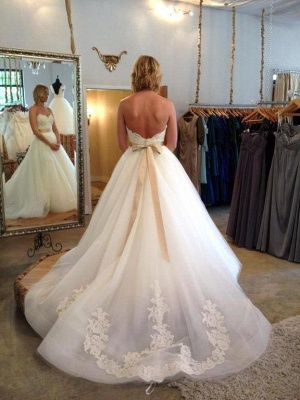 Sweetheart Tulle Bowknot Wedding Dress New Arrival Open Back Long Bridal Gowns_3