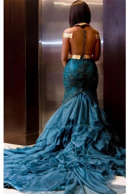 Sheer Tulle Gold Lace Sexy Prom Dress | Blue Lace Appliques Evening Gown with Long Train_3
