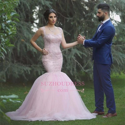 Pink Sexy Mermaid Sleeveless Tulle Long Applique Wedding Dresses_1