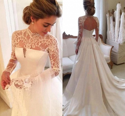 Zipper Lace Elegant High-Neck A-line Long-Sleeve Wedding Dress_3
