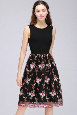 Sleeveless A-Line Tulle Flowers Short Black Homecoming Dresses_6
