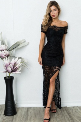 Black Off Shoulder Lace Evening Dresses |  Lace Sheath Ankle Length Formal Dress_1