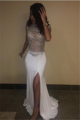 High Neck Beading Sequins Prom Dresses  Cap Sleeves Front Split Evening Gowns BA5088_1