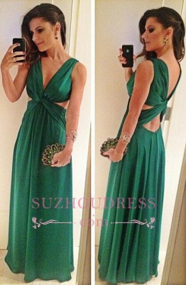 Green Sleeveless V-Neck Evening Gowns  A-Line Floor Length Sexy Prom Dress_3