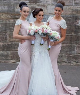Elegant Crystal Short Sleeve Wedding Party Dresses Backless Sweep Train Fitted Bridesmaid Dresses cap121_3