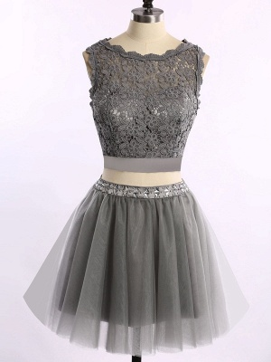 Cute Two Piece Short Cocktail Dresses New Arrival Lace Mini Homecoming Gowns_1