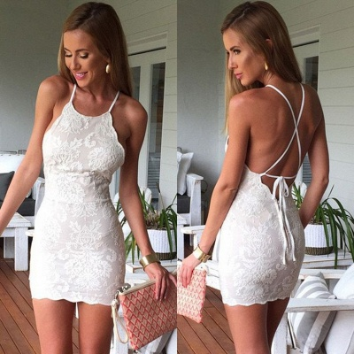 Sexy Backless Sheath Homecoming Dress  Short Halter Appliques Party Dresses BA6927_3