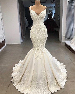 Gorgeous Appliques Detachable Satin Backless Wedding Dresses Spaghetti Straps Lace Fit and Flare Bridal Gowns with Overskirt On Sale_5