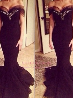 Sexy Off-the-Shoulder Crystal Mermaid Evening Gowns  Sweep-Train Prom Dress_1