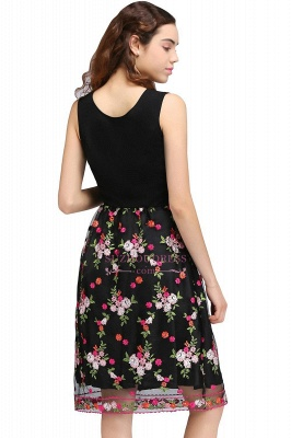 Sleeveless A-Line Tulle Flowers Short Black Homecoming Dresses_3