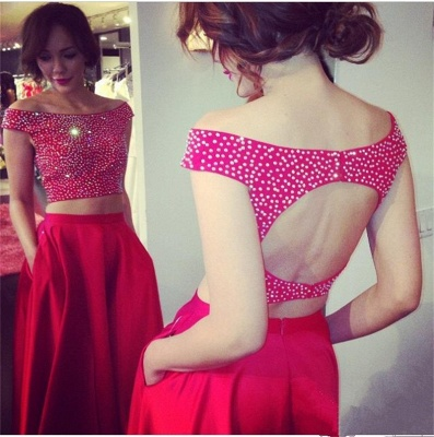 Red Two Piece Off Shoulder Prom Dress Back Hole Bateau A-line Evening Dresses with Pocket_3