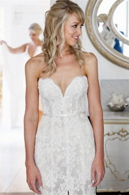 Appliques Open-Back Sweetheart Tulle Sleeveless Sheath Front-Slit Lace Wedding Dress_4