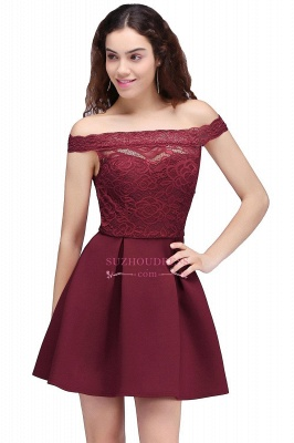 Lace Burgundy Off-the-Shoulder A-Line Short Homecoming Dresses_2