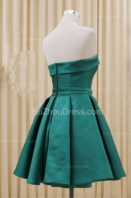 Green Strapless Satin Popular Homecoming Dress Short Formal Party Dress with Bowknot BA3747_2