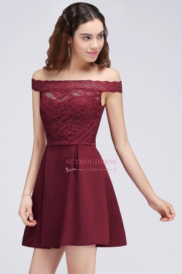 Lace Burgundy Off-the-Shoulder A-Line Short Homecoming Dresses_6