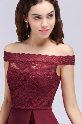 Lace Burgundy Off-the-Shoulder A-Line Short Homecoming Dresses_4