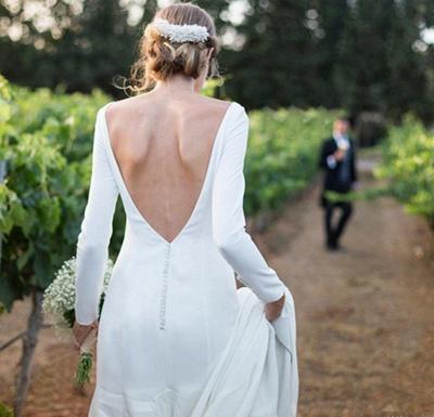 Stunning Long Sleeve Sheath Wedding Dresses Backless Wholesale Satin Bridal Gowns Online_4