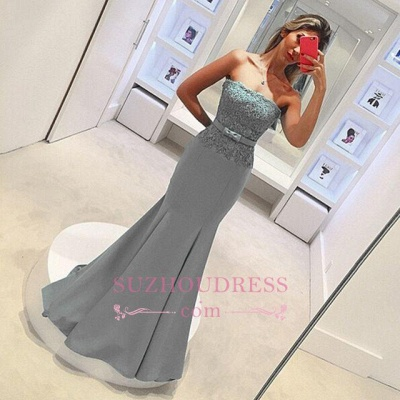Delicate Lace Strapless Evening Dress  with Bow Sleeveless Mermaid Prom Dress_1