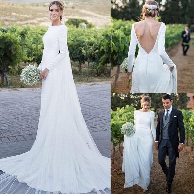 Stunning Long Sleeve Sheath Wedding Dresses Backless Wholesale Satin Bridal Gowns Online_5