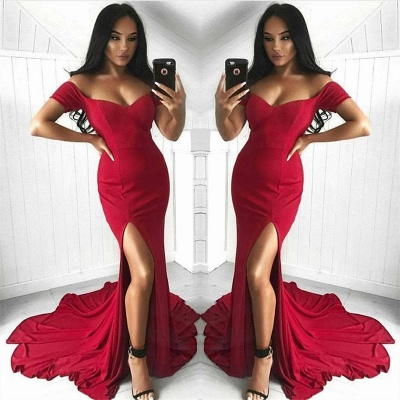 Off The Shoulder Red Evening Dress  | Side Slit Sexy Formal Ball Dress with Long Train_3