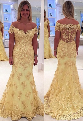 Off The Shoulder Lace Appliques Prom Dresses  Yellow Sheer Back Evening Gown_1