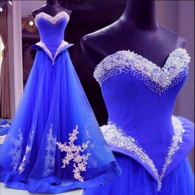 Beautiful Royal Blue Crystal Prom Dress Sweetheart Beadings Tulle Lace Applique Quinceanera Dresses_2