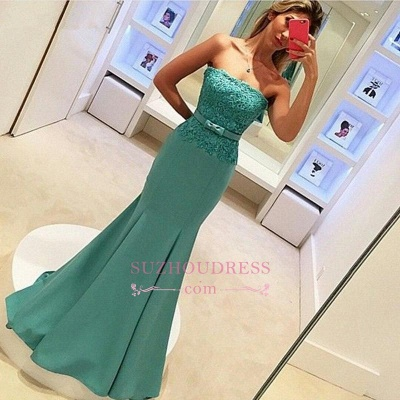 Delicate Lace Strapless Evening Dress  with Bow Sleeveless Mermaid Prom Dress_4