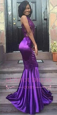 Sexy Halter Mermaid Purple Evening Gown Appliques Lace Open Back Sleeveless Prom Dress  JJ0135_1