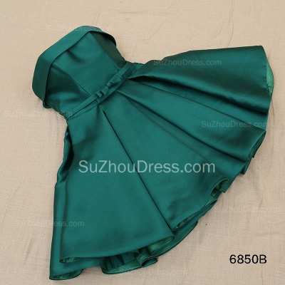 Green Strapless Satin Popular Homecoming Dress Short Formal Party Dress with Bowknot BA3747_3
